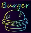 burger sticker bright sketch vector image vector image