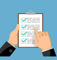 businessman shows business plan or checklist vector image
