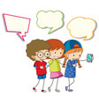 children with speech balloon vector image vector image