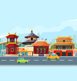 chinese urban landscape with traditional buildings vector image vector image