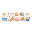 collection different envelopes with mail vector image