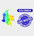 colored mosaic colombia map and grunge like master vector image vector image