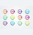 colorful bullet point set vector image vector image