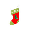 cute beautiful sock with an embroidered pattern vector image vector image