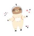 cute dreaming astronaut sloth in a spacesuit vector image vector image