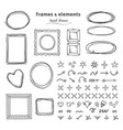 doodle frames and elements hand drawn square vector image vector image