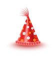 festive cap with flowers isolated vector image vector image