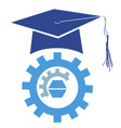 graduation mortarboard cap with gear logo vector image vector image