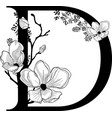 hand drawn floral d monogram and logo vector image vector image