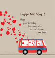 happy birthday love bus with heart vector image vector image