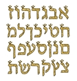 Hebrew alphabet gold Hebrew font with crowns vector image vector image