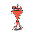 lead management icon in comic style funnel with vector image