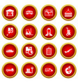 logistic icon red circle set vector image vector image