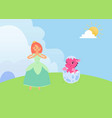 magical fairytale with princess and baby dragon vector image