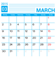March 2015 calendar page template vector image