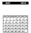May calendar 2014 vector image vector image