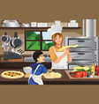 mother son in the kitchen vector image vector image
