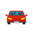 Red front car icon flat style