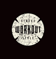 round emblem of workout vector image vector image