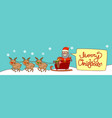 santa riding in sledge with reindeers merry vector image