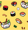 seamless of cartoon japanese food pattern vector image