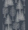seamless pattern with hand drawn trees vector image