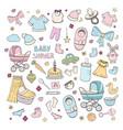 set elements for celebrating babirth girl vector image