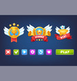 set mobile game ui elements win icons and vector image