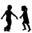 silhouette a girl and a boy playing together vector image vector image