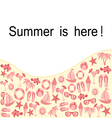 Summer text frame with object set vector image