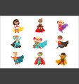 superhero girls and boys set kids in superhero vector image vector image