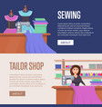 tailor shop horizontal flyers set vector image