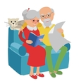 Happy senior man woman family sitting on the sofa vector image