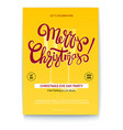 merry christmas template of greetings poster with vector image