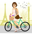 woman riding a bike with a basket full of flowers vector image