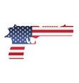 america flag in handgun shape on white background vector image vector image
