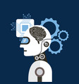 artificial intelligence brain process gear vector image vector image