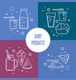 assortment of dairy products square compositions vector image vector image