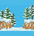 background scene with pine trees on mountain vector image vector image