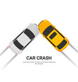 car accident speed crash top view cartoon vector image vector image