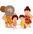 cartoon caveman family isolate on white background vector image vector image