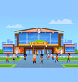children at school building cartoon kids in vector image vector image