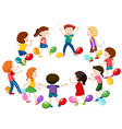 Children playing game of balloon popping vector image vector image