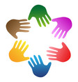 color hands around logo vector image vector image