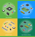 computer electronic circuit board component poster vector image vector image
