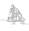 continuous one line drawing of two girls vector image vector image