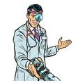 doctor surgeon handshake robot prosthesis vector image vector image