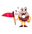 donut holding red flag on white background vector image vector image