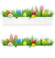easter border with grass vector image