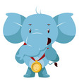 elephant with gold medal on white background vector image vector image